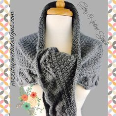 Shoulder Shawl Scarf Ladies Handknit Gray Heather Caron Simply Soft. Elegant and fashionable ladies hand knit shoulder shawl/scarf in Caron