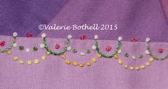 Crazy Quilt Stitch #226, French Knots. ©Valerie Bothell 2015