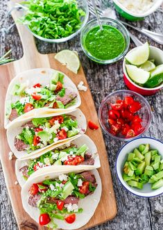 Steak Tacos with Chimichurri Sauce.