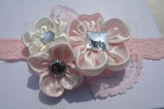 Pink and ivory flower headband http://www.etsy.com/shop/LudasPreciousDesigns
