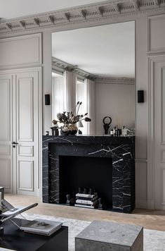 Designer Emma Blomquist's Dream Apartment now for Sale The decoration of home is much like an exhibition space that reveals our own tastes and design ideas and now we naturall. Interior Desing, Interior Inspiration, Interior And Exterior, Luxury Interior, Living Room Designs, Living Room Decor, Casa Milano, Marble Fireplaces, Marble Fireplace Surround
