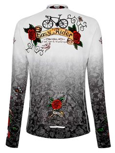 Rose Tattoo Long  Sleeve women's jersey from Cycology. #cycling, #jersey