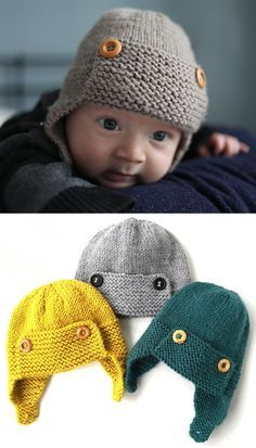 Strickmuster , Baby Aviator Hat - Knitting Pattern , Free Knitting Patterns Source by AmazingKn. Knitting Patterns Boys, Baby Hat Knitting Pattern, Baby Hats Knitting, Loom Knitting, Baby Patterns, Free Knitting, Crochet Patterns, Knitted Baby Hats, Kids Knitting