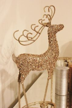 glittery reindeer gold glitter figurine statue figure sequined beaded golden christmas holiday decor deer antler standing table decoration