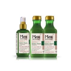 MAUI MOISTURE THICKEN AND RESTORE Bamboo fibers team up with castor and neem oil to plump up skinny shafts of hair in this shampoo, conditioner, and volumizing mist trio. Pure aloe juice is the first ingredient listed, so you're getting doused with moisture, too. $8.99 each (Drugstores) - Available January 2017