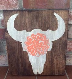 Cowgirl, country girl room decor. Steer skull with flower. Hand painted wood sign by TinasTinkers on Etsy