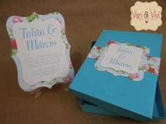 Convite Caixa Azul Tiffany (CV006) - Van&Vivi Eventos.