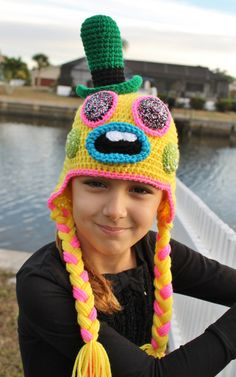 Dinkles Crochet Hat PDF sample impressed by the Dreamworks film Trolls! Dinkles Trolls crochet hat is made with gentle, sturdy acrylic yarn and includes a Crochet Kids Hats, Crochet Beanie, Love Crochet, Crochet Crafts, Crochet Baby, Crochet Projects, Knit Crochet, Crochet Hoodie, Crocheted Hats