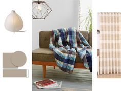 Plaid and stripes. The key to balancing a brightly colored plaid piece in your decor is to provide a muted backdrop that can fit with a variety of prints. With this plaid blanket (or any other colored throw), match it with stripes in a complementary hue, like pale brown striped curtains. Work more stripes into the room with removable adhesive wallpaper stickers that stripe up and down the room to add vertical interest, then finish with a table lamp that casts a soft glow over everything.