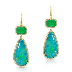 14KT Yellow Gold Emerald And Long Opal Diamond Earrings Drop measures approximately 1 3/4""