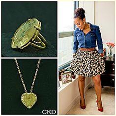Anel ajustável e colar com cristal de inclusão!! www.ckdsemijoias.com.br