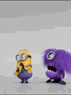 Someone's had a Bad Day? Bad Minion, Minion Gif, Despicable Minions, Cute Minions, Gifs, Purple Minions, Dog Cages, Gif Pictures, Minions Quotes