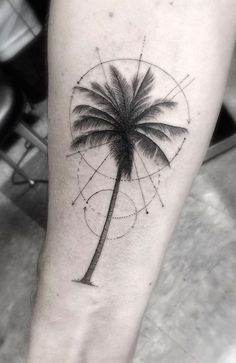 Magnificent painted big palm tree with circles tattoo on arm