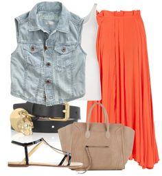 Chambray shirt, orange bottoms, gold belt, white/gold flat sandals, brown/tan/gold giraffe purse