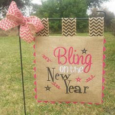 Burlap Garden Flag  Bling on the New Year  by sewgoddesscreations