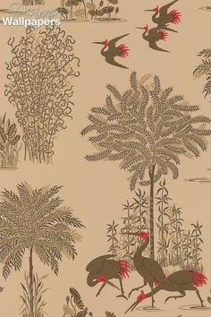 Jagmandir - flocks of storks in metallic leaf plumage, feeding and flying amongst foliage and water - with lotus flowers, ferns and reeds. An exotic and beautiful wallpaper. Cranes amongst the tree measures 58cm/22.8inches tall.