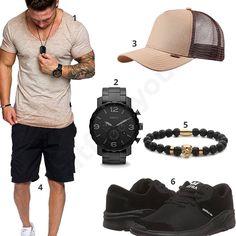 Super lässiges Herren-Outfit mit Amaci&Sons Shirt, Djinns Trucker-Cap, schwarzer Fossil Uhr, Freeman Shorts, Obelizk Lion Armband und Supra Noiz Schuhen.