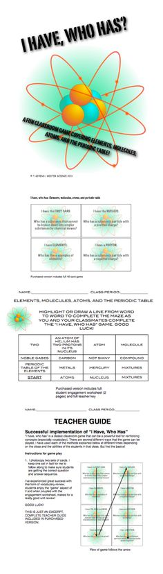 FANTASTIC BACK TO SCHOOL REVIEW GAME! This interactive game reviews students the concept of the periodic table, atoms, elements, and the periodic table, the significance of element name, symbol, molecules, etc. 40-card game, accompanying worksheet to ensure engagement, full description of how to use game with multiple variations for different classes and learners, and all teacher keys are included. 13 pages of materials.