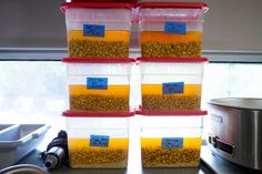 Corn kernels sit in an alkaline solution, undergoing a process known as nixtimilization, in preparation for use in a new recipe for corn bread being developed by test cook Tim Chin.