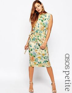 156a7f532c32 ASOS PETITE Belted Midi Dress With Split Sleeve In Floral Print at asos.com
