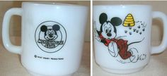 Vintage Libbey  1960's Disney Mickey Mouse Club Bee Chase Mug White Milk Glass