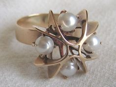 Elis Kauppi. 585 Gold ring with pearls.