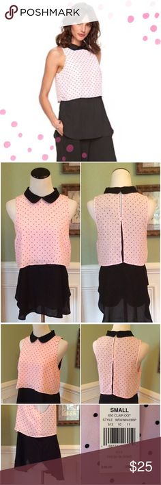 💕NWT💕  ELLE  Layered High/Low Top Super cute!!!  Pink with black poka-dots. Peter Pan collar w/button loop closure. Black underlay, slip-on loose fitting. Cute with leggings. ELLE Tops Tunics