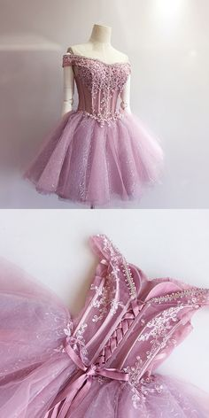Cute Homecoming Dress,A-Line Homecoming Dress,Off-Shoulder Homecoming Dress,Short Homecoming Dress,Tulle Homecoming Dress,Pink Homecoming Dress,Lace Homecoming Dress,Homecoming Dress,Homecoming Dresses,2017 Homecoming Dress,2017 Homecoming Dresses