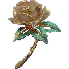 Vintage Rose Brooch The Rose of England  Princess Diana Commemorative. found at www.rubylane.com #vintagebeginshere