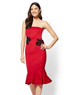 1b9869ded38 Shop Lace-Accent Strapless Sheath Dress - Red. Find your perfect size  online at