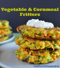 Vegetable and Cornmeal Fritters | Healthy Nibbles and Bits (Carrots, Zucchini, Scallions)
