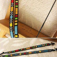 Loom Bracelet Patterns, Bead Loom Bracelets, Bead Loom Patterns, Beaded Jewelry Patterns, Weaving Patterns, Diy African Jewelry, Leather Thread, Beading Techniques, Bead Jewellery