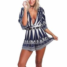 2433750ebbab Ladies Sexy Blue Pedal Qtr Sleeve V Neck Belted Party Shorts Romper. Mini  Skirt ...