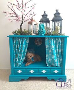 tv console to dog bed take painted furniture, pets animals, repurposing upcycling, reupholster - My Doggy Is Delightful Tv Dog Beds, Diy Dog Bed, Doggie Beds, Doggies, Pet Beds Diy, Puppy Beds, Dog Furniture, Repurposed Furniture, Painted Furniture