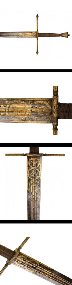 A SOUTH GERMAN GILT-IRON BEARING SWORD FROM THE ARMOURIES OF THE PRINCES VON LIECHTENSTEIN, circa 1580.