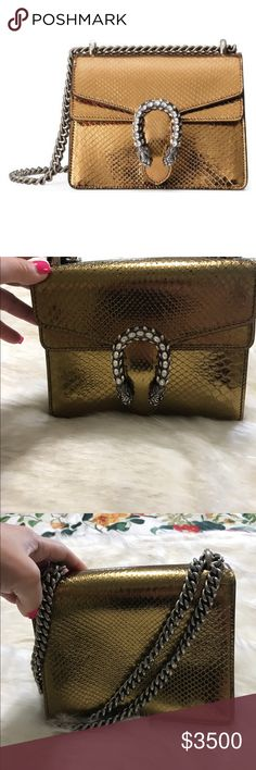 Brand new Gucci 🐍 Shoulder Bag Authentic as heck u better believe it she's gold and fabulous now welcome to my closet everyone enjoy 😊 no emails no trades no low balling on any of my things thank u have a blessed day 🙏🙏🙏🎉🎉🎉 Gucci Bags Shoulder Bags