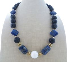Lapis lazuli necklace, chunky necklace, black lava rock necklace, blue stone necklace, big bold necklace, beaded necklace, summer jewelry by Sofiasbijoux on Etsy