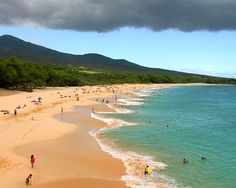 Wailea Beach, Maui.  A great family beach.  The waves are too rough for toddlers, but great for older kids.