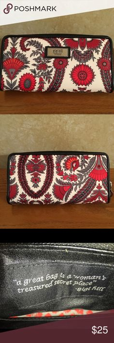 Gigi Hill Wallet in Black Beautiful durable wallet in paisley exterior print in shades of red, gray, white and black. Interior is black with a red heart print front and back walls. Lots of credit card slots, large zip are for change, 2 areas for cash. Zip closure. Accessories