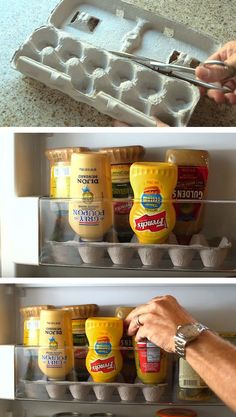 Place your condiments upside down in an egg carton for an easier squeeze. 11 Brilliant Organization Hacks You Need To Know. Organisation Hacks, Storage Organization, Storage Ideas, Recycling Storage, Small Storage, Pantry Storage, Diy Storage, Jewelry Storage Display, Pantry Diy