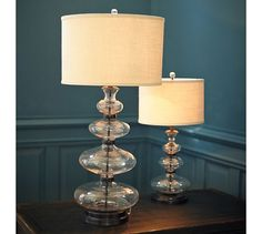 """Estelle Stacked Glass Table Lamp Base small: Overall: 8.5"""" diameter, 24"""" high $135 + shade  living room"""