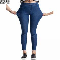 2bf53d3b938c1 Autumn Plus Size Casual Women Jeans Pant Slim Stretch Cotton Denim Trousers  for woman Blue 4xl