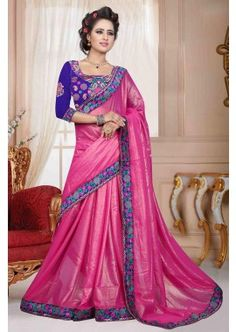 rose georgette saree