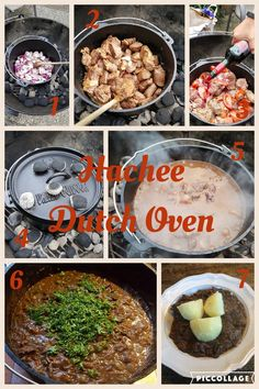 Hachee In Dutch Oven On Weber Barbecue Stew Ingredients Irish Beef Red Unions Garlic Tomato Red Wine Broth Parsley