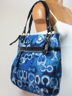 Coach Limited Edition Poppy Glam Shopper Bag Purse Tote 19881 Denim Blue $175.00
