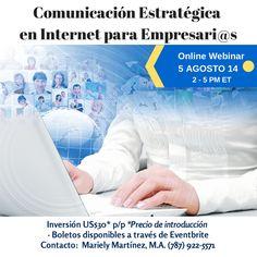 Próximo taller ONLINE el 5 de agosto para #empresarios #comunicaciónestratégica Boletos en: http://www.eventbrite.com/e/comunicacion-estrategica-en-internet-para-empresaris-webinar-tickets-12193514129