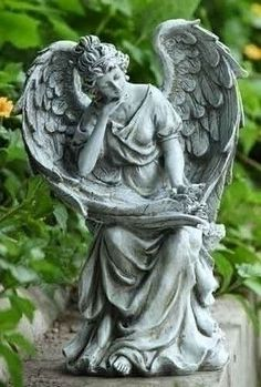 "Angel In Thought Garden Statue. Beautiful and graceful angel for home or garden. This gift is perfect for any angel lovers or as a memorial gift. Made of Resin and stone mix Measures at :9.25""X7.25""X1"