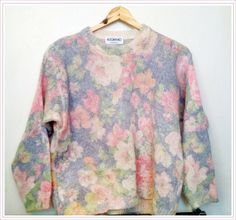 VINTAGE PASTEL Floral Italian-made sweater for spring S/M. $40.00, via Etsy.