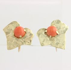 Coral Leaf Earrings  14k Yellow Gold Screw Back by WilsonBrothers