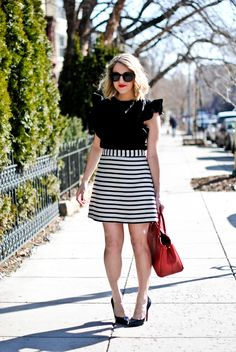 Sophisticated Stripes: Stripes and a pop of red!